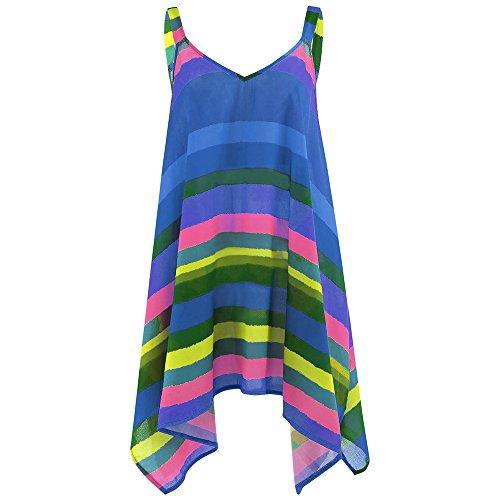 Womens Shirts Print Irregular Sleeveless Casual Tunic Tops Blouse T-Shirt for Ladies Teen Girls Rainbow-Blue