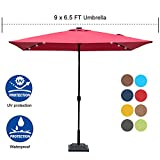 Sundale Outdoor Rectangular Solar Powered 26 LED Lighted Patio Umbrella Table Market Umbrella with Crank and Push Button Tilt for Garden, Deck, Backyard, Pool, 6 Alu. Ribs, 9 by 6.5-Feet (Red)