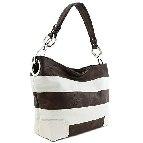 Hobo Shoulder Bag with Big Snap Hook Hardware (Coffee/White)