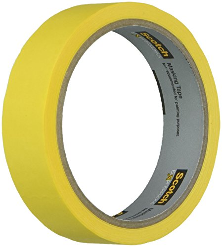 (Scotch Brand 3M-3437-PYL Masking Tape .94 X 20yd Yellw, 0.94 in x 20 yds, Yellow)