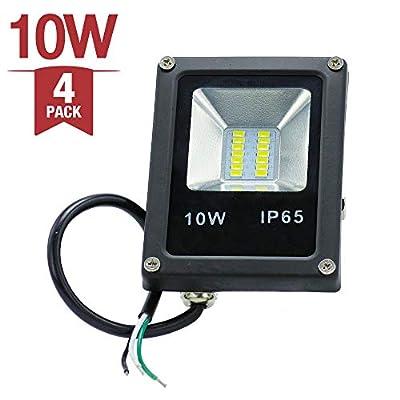  4-Pack 10W 120V Waterproof Outdoor Garden Yard LED Flood Light Daylight White