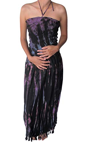 RaanPahMuang Tie Dye Spaghetti Halter Smock Bust Long Fashion Black Lava Dress
