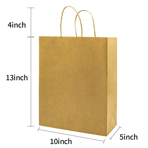 Bagmad Thicker Paper 50 Count 10x5x13, Large Kraft Paper Shopping Bags with Handles,Gift Natural Party Retail Craft Brown Bags,50PCS by Bagmad (Image #1)'