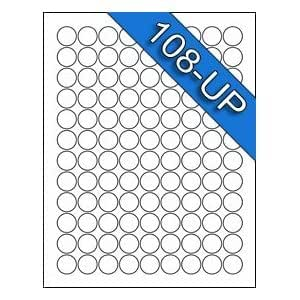 108 UP 3/4 Diameter .75 inch 5408 Compatible Circle Round White Labels Stickers-50 Sheets- You can contact the seller if template is needed