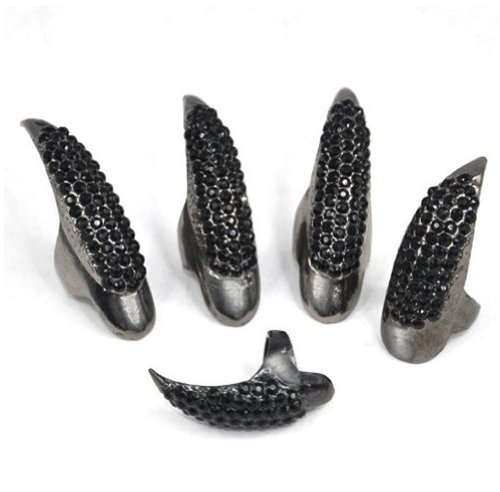 WIIPU Antique Retro Black Pattern Punk Crystal Paved Fingertip Finger Claw Ring Set, Set of 5pcs(C288) -