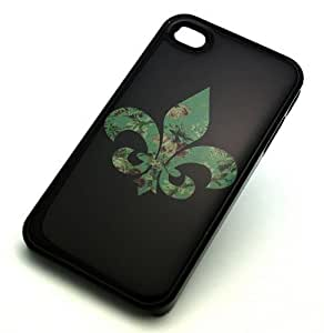 iphone covers BLACK Snap On Hard Case Iphone 6 4.7 Plastic Skin Cover - GREEN FLEUR DE LIS lys vintage cute flower floral cross