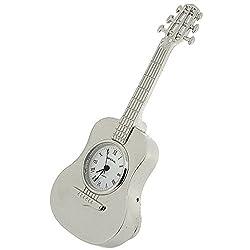 Miniature Silver Tone Metal Free Standing Guitar Novelty Collectors Clock IMP86S