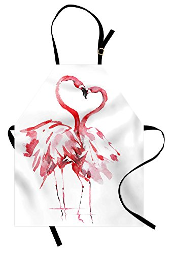 Ambesonne Flamingo Apron, Flamingo Couple Kissing Romance Passion Partners in Love Watercolor Effect, Unisex Kitchen Bib with Adjustable Neck for Cooking Gardening, Adult Size, Coral White ()