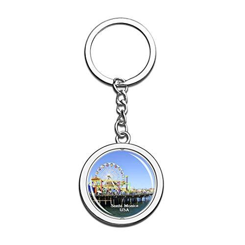 Keychain Santa Monica Pier United States USA US Keychain Crystal Spinning Round Stainless Steel Keychains Souvenir Key Chain Ring -