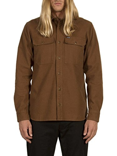 Volcom Men's Ketil Military Long Sleeve Button up Shirt, Mud, S