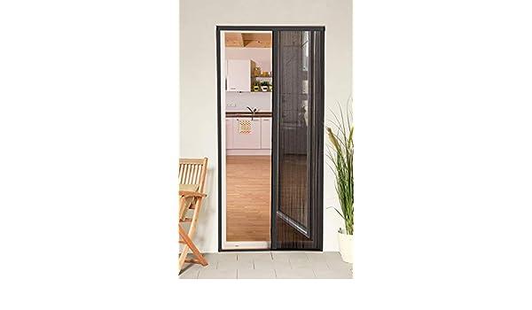 Mosquitera corredera puerta smart plegable de aluminio, 125 x 220 cm, gris recortable, compatible con puertas y ...