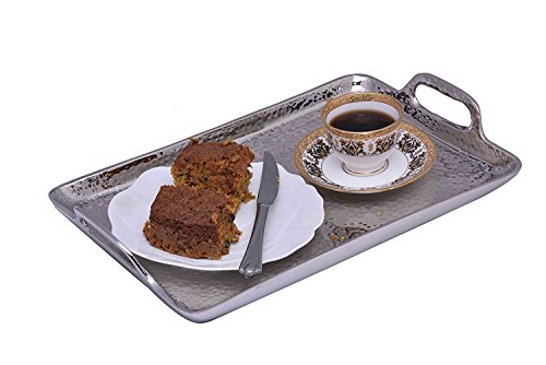 Hammered Aluminum Tray Serving (Sammsara Decorative Food Safe Metal Hammered Rectangle Serving Tray with handles for starters,snacks or fruits)