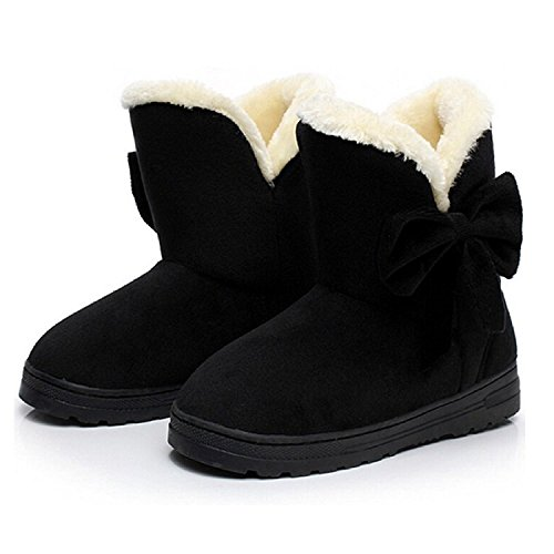 Minetom Mujeres Otoño Invierno Botines Zapatos Calientes Moda Botas Con Bowknot Negro