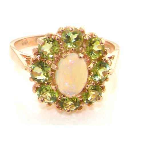 Colorful Opal Ring - 14K Solid English Rose Gold Ladies 9 Stone Colorful Fiery Opal & Peridot Ring - Sizes 5 to 12 Available