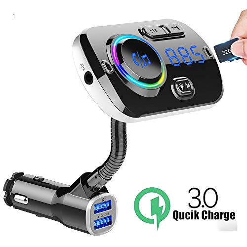 Dual USB Fast Car Charger, Bluetooth 5.0 MP3 Music/TF Card/U Disk Playback FM Transmitter Car Kit,Hands-Free Calling, Colorful LED Backlight
