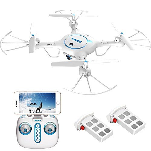 Syma X5UW Wifi FPV Drone with 720P HD Camera Live Video 2.4Ghz RC Quadcopter with Flight Route Setting and Altitude Hold Function Bonus Battery Included White