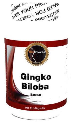 Ginko Biloba Extrait # Améliorer la mémoire - 90 gélules standardisé pour contenir 24% Glycosides - par BioPower