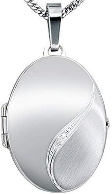 Panzerkette inkl Sterling Silber 17 x 24 mm Anh/änger Medaillon oval mit Zirkoniastein zum /öffnen 925// Gravur