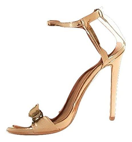 Edle High Heel Sandaletten (38, Gold)