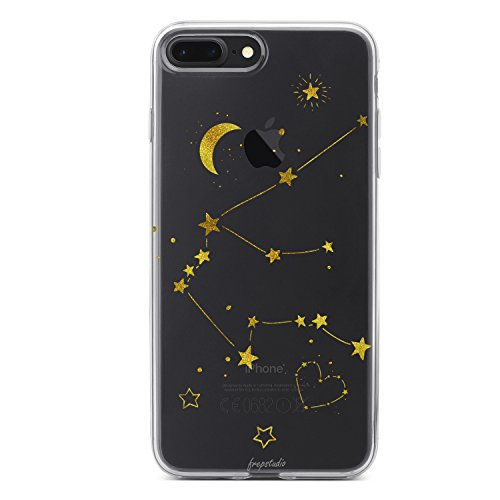 (Compatible with iPhone 8 Plus,Girl Cute Zodiac Sign Cute Aquarius Girls Teens Funny Starry Funny Moon Star Milky Way Aquarius Clear Soft Case Replacement for iPhone 7 Plus/iPhone 8 Plus)