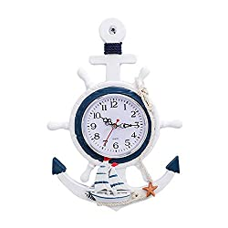 Hrpa Mediterranean Style Anchor Clock, Nautical Theme Wall Clock Wheel Rudder Steering Wall Hanging Children's Bedroom Wall Hanging Decoration (D)