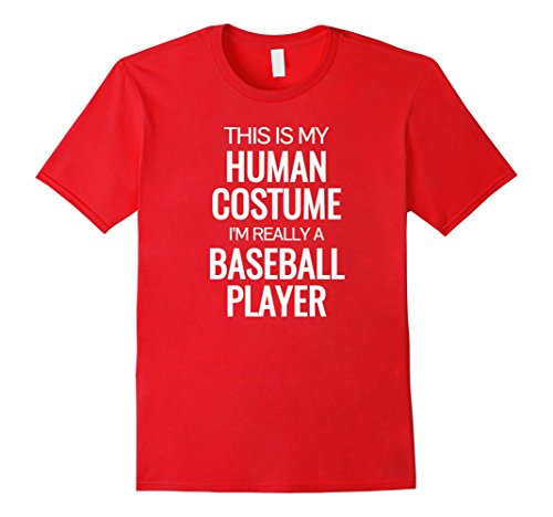 Mens Human costume I'm really a baseball player Halloween Tshirt XL Red