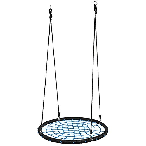"""Price comparison product image Garain Tree Swing, 40"""" Diameter Extra Large Heavy Duty Outdoor Playground Round Spider Web Net Tree Swing Set with Nylon Hanging Ropes for Multiple Kids, 440lbs Capacity, Blue(US Stock)"""