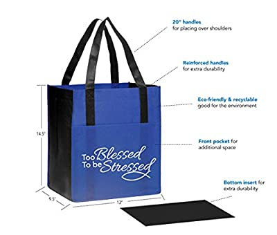 "3 Pack Foldable Eco-Friendly Reusable Shopping Bags with Religious Christian Quote ""Too Blessed to be Stressed"" + BONUS 1 Jotting Pad & Matching Pen"
