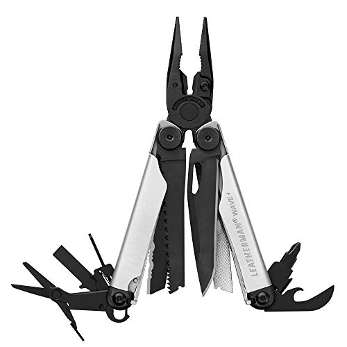 LEATHERMAN - Wave Plus Multitool with Premium Replaceable Wire Cutters and Spring-Action Scissors, Limited Edition Black/Silver