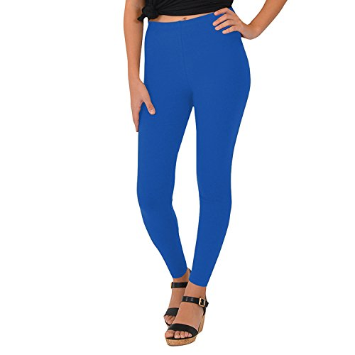 Stretch is Comfort Women's Cotton Footless Leggings Royal Blue Large