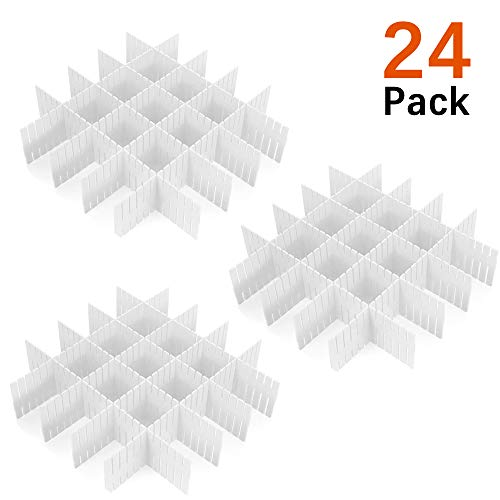 - 24 Pcs Plastic DIY Grid Drawer Divider Household Necessities Storage Thickening Housing Spacer Sub-Grid Finishing Shelves for Home Tidy Closet Stationary Socks Underwear Scarves Organizer (White)