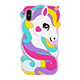 Cute Colorful Pegasus Case for iPhone X/XS 10,3D Cartoon Animal Cute Silicone Rubber Protective Kawaii Funny Character Cover,Animated Fun Cool Skin Cases for Kids Teens Girls(iX XS 10)