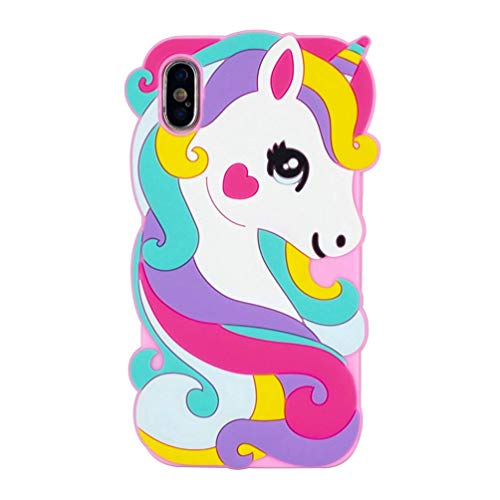 """Cute Colorful Pegasus Case for iPhone Xs Max 6.5"""",3D Cartoon Animal Cute Silicone Rubber Protective Kawaii Funny Character Cover,Animated Fun Cool Skin Cases for Kids Teens Girls Boys(iPhone Xs max) ()"""