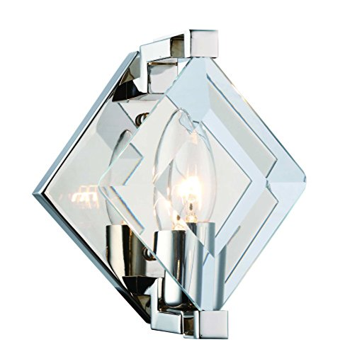 4000 Endicott Collection Wall Light D:5.9In H:7.5In E:5.3In Lt:1 Polished Nickel + Clear Glass Finish