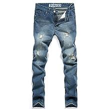 Jinmen New Classic Men Stylish Designed Straight Slim Fit Trousers Casual Jean Pants