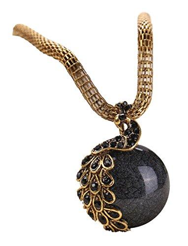 Desklets Women Retro Craft Antique Peacock Tail Single Marbles Pendant Necklace(Black)
