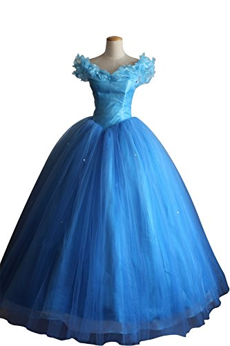 Cosrea Disney Cinderella 2015 Live Action Multilayer Tulle Adult Costume Dress (Small)]()