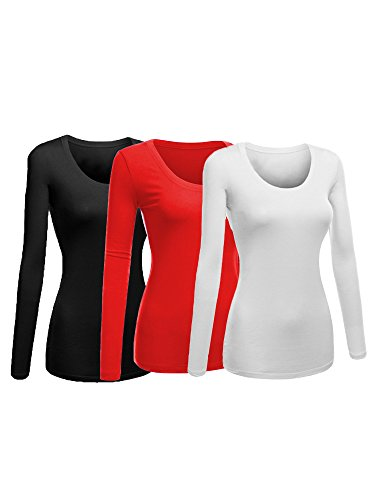 Quality Women Red T-shirt - Emmalise Women's Plain Basic Scoop Neck Long Sleeve Tshirt Tee - 3Pk - Black, Red, White, 2XL