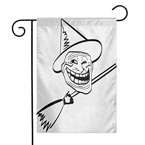 Mannwarehouse Humor Garden Flag Halloween Spirit Themed Witch Guy Meme LOL Joy Spooky Avatar Artful Image Print Premium Material W12 x L18 Black and White -