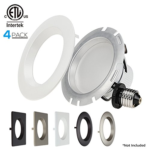 (4-PACK 4 Inch Dimmable Recessed LED Downlight, 10W (75W Equiv.), White Trim Attached, Trim Interchangeable, For All Furnishing Styles, 5000K Daylight, ETL-listed, 5 YEAR WARRANTY)