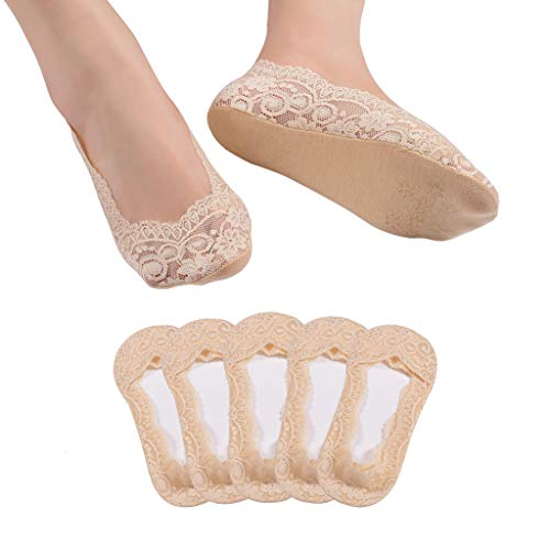 5 Pairs Lace No Show Socks Women No Show Liner Socks Low Cut Casual Socks Non Slip(Nude,8-10)