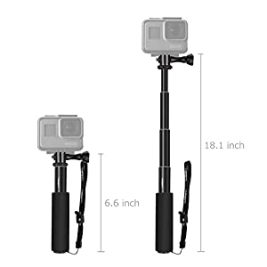 "Luxebell Selfie Stick Telescopic Pole Pocket Purse Size with Phone Clip Holder for Gopro Hero 6 5, Session 5, Hero 4/3+/3/2 and Cellphone 6.6""-18.1"" (Black)"
