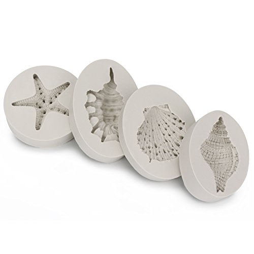 Sea Life Mold, Beasea 4pcs Cake Mould 3D Starfish Seashells Conch Silicone Mold Fondant Cake Decorating Tools Chocolate Candy Molds Kitchen Baking by Beasea