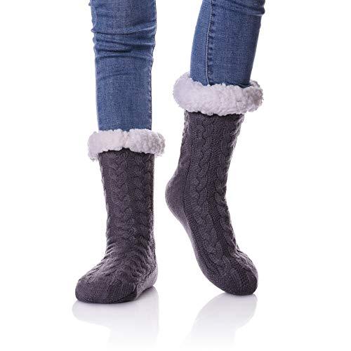 LINEMIN Womens Plus Size Super Soft Warm Cozy Fuzzy With Grips Fleece-lined Winter Christmas gift Slipper socks/Shoe Size: 7-12 (Dark Gray) from LINEMIN