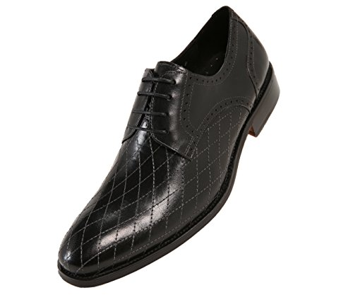Asher Green Mens Quilted Leather Dress Shoes, Comfortable Lace Up Plain Toe Oxford