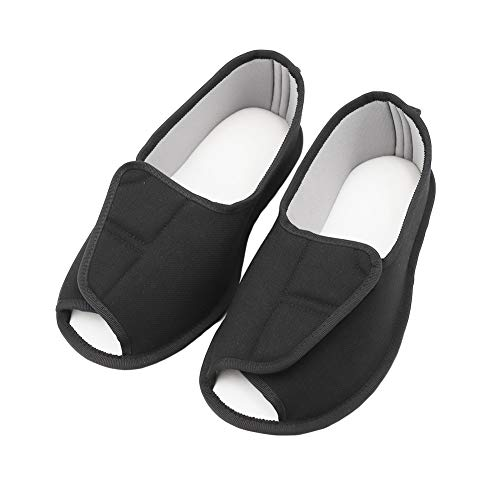 (BUYITNOW Womens Extra Extra Wide Slippers with Adjustable Closures Swollen Feet for Pregnant, Diabetic, Edema Black)