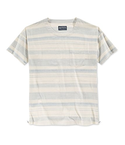 American Rag Mens Striped Zipper Seam Graphic T-Shirt Blue L