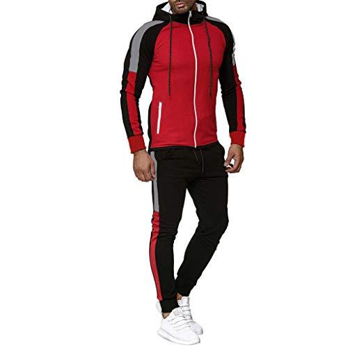 Men Tracksuit Autumn Stripe Print Sweatshirt Top Pants Sets Sport Suit Jogging Outfit Red