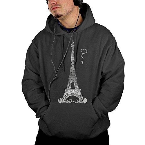 Vintage Golfer Costume (Paris Printed Drawstring Pullover Men's Hoodie Hooded Sweatshirt Black)