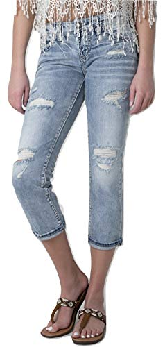Mid Rise Aiko Capri Light Wash Cropped Distressed Stretch Jeans (28) ()